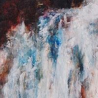 Oil painting Power of the Waterfall II by Libuse Labik