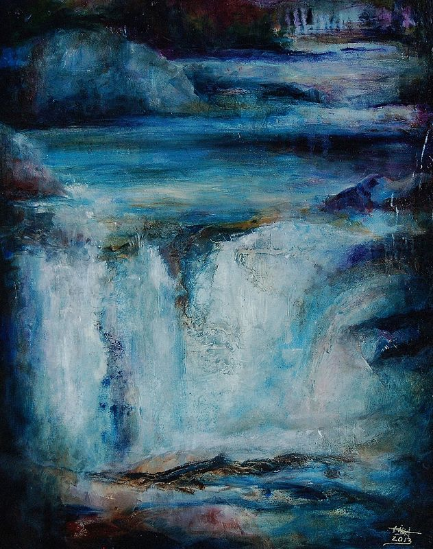Oil painting Chasing Waterfalls II by Liba Labik