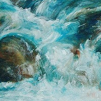 Oil painting Sparkles Under the Waterfall by Libuse Labik