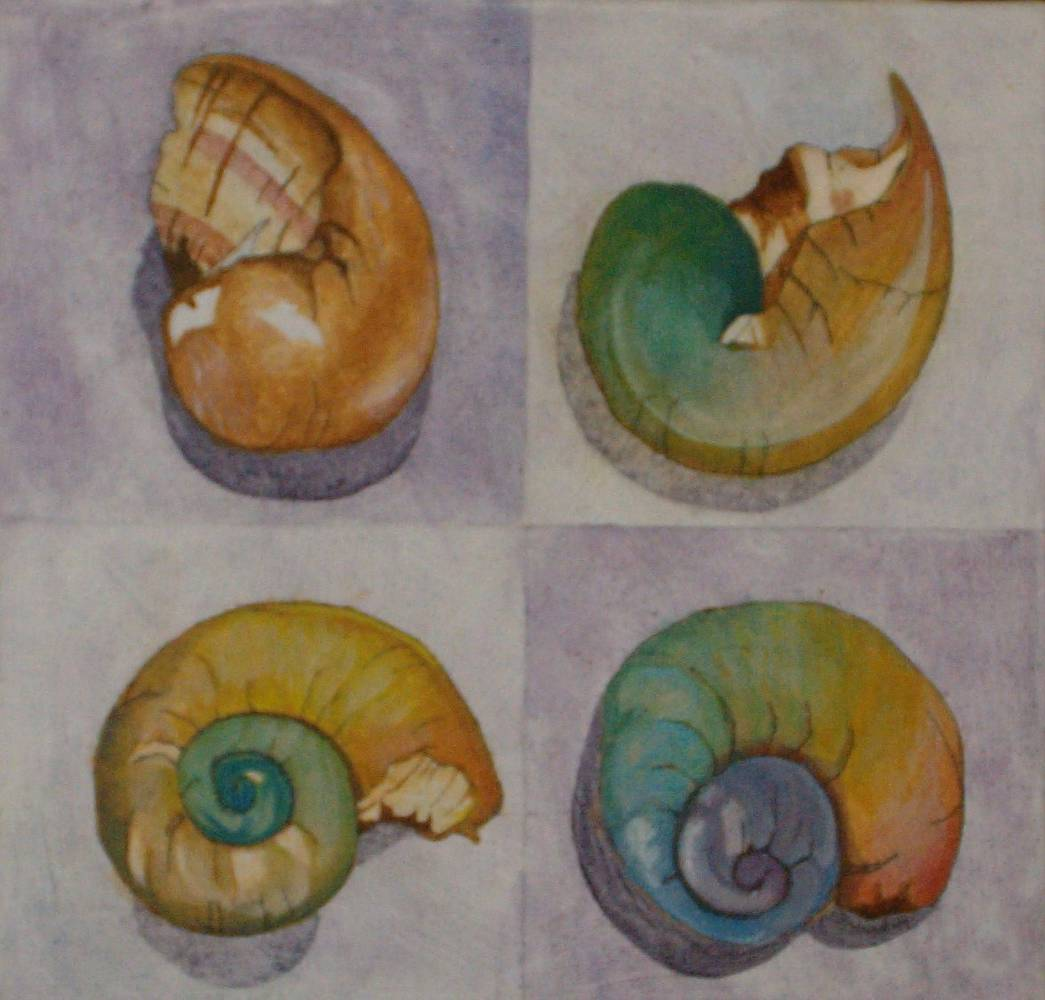 Mixed-media artwork Chromasnail by Claudia Stewart