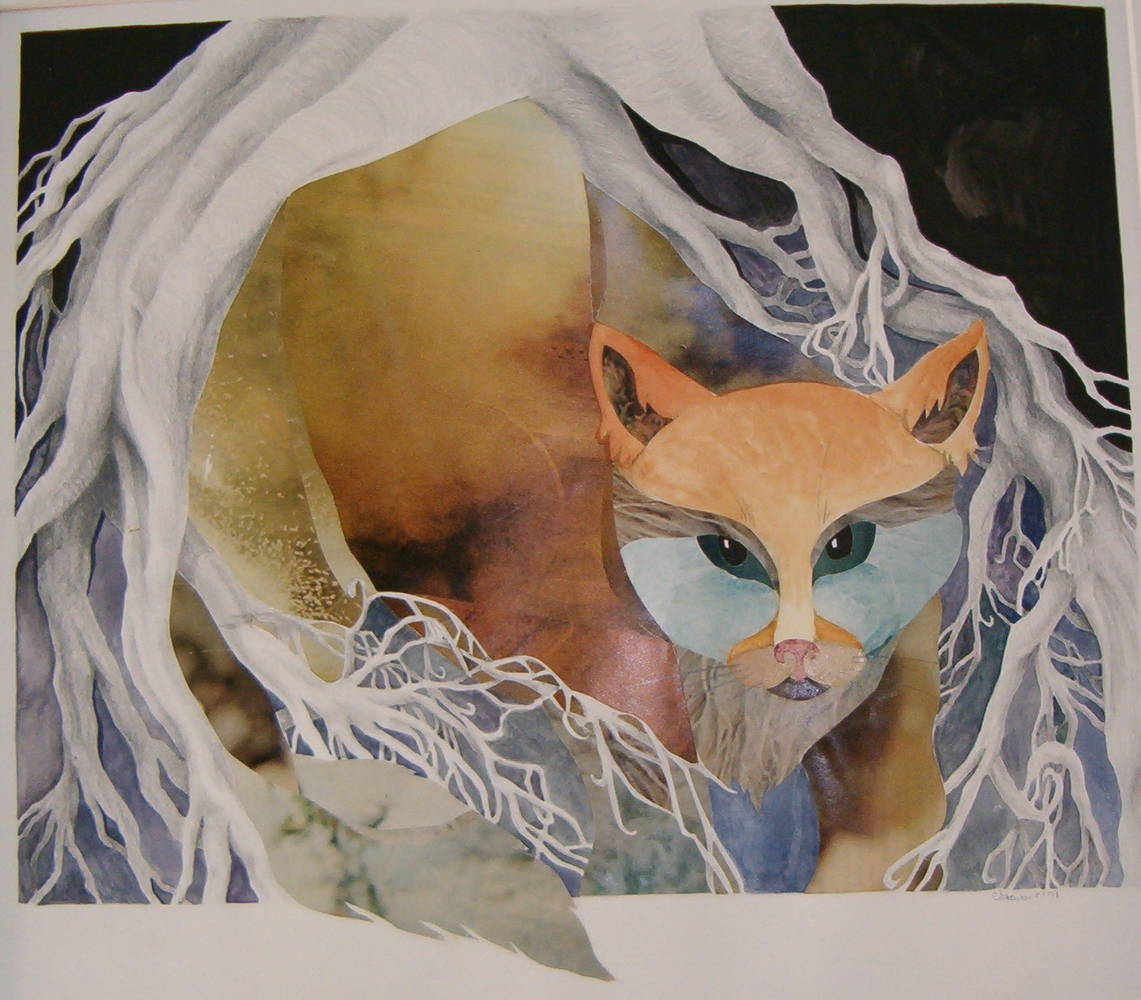 Acrylic painting  Rooted Cat by Claudia Stewart