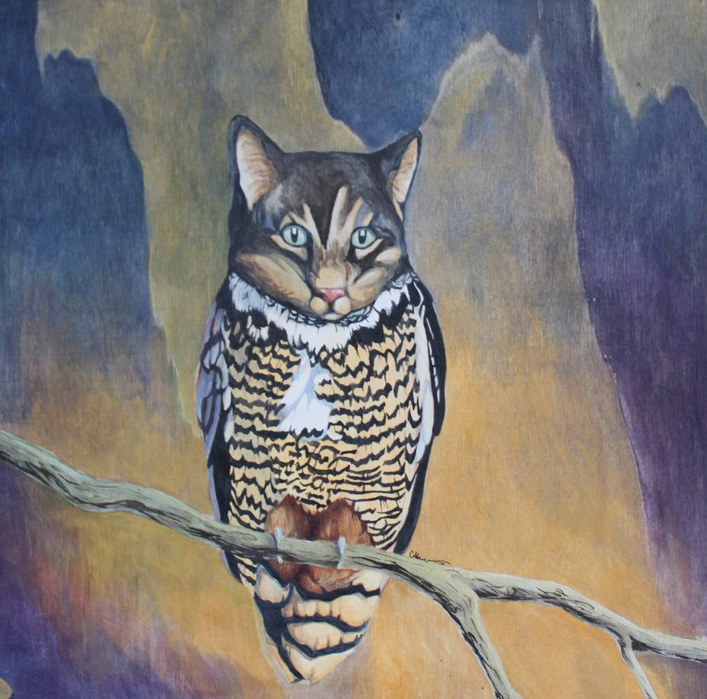 Acrylic painting Catowl by Claudia Stewart