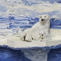 Oil painting Two Polar Bears, 2014.  by David  Maxim