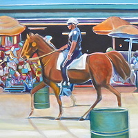 Oil painting Coney Island Cop on Horse by Timothy Innamorato