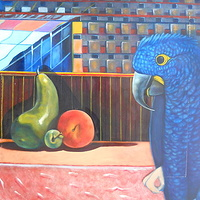Oil painting fruit with blue parrot by Timothy Innamorato