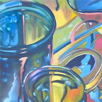 Oil painting blue bottle study by Timothy Innamorato