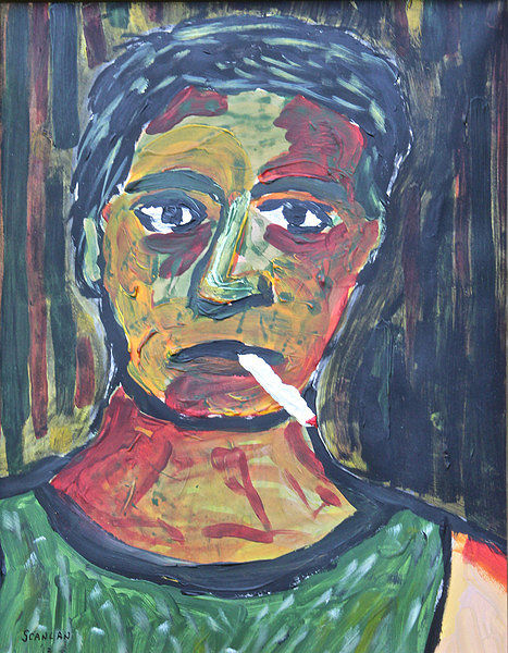 Acrylic painting J&L Mill Worker, Pittsburgh, 1981 by Bernard Scanlan