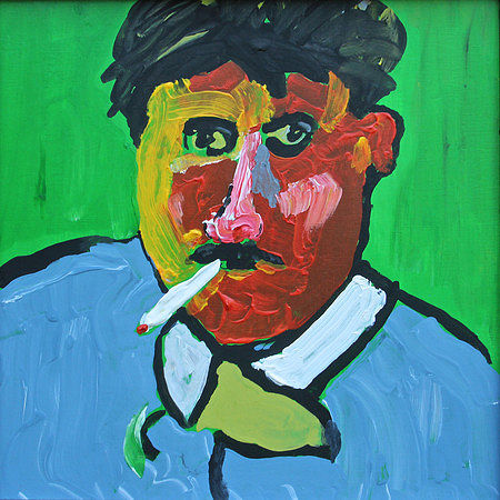 Acrylic painting Man with a Cigarette by Bernard Scanlan