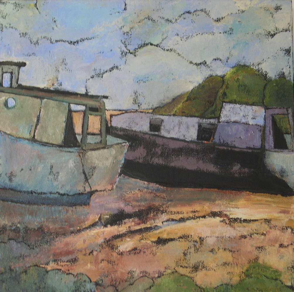 Acrylic painting Ghost Boats by Yvonne Foster