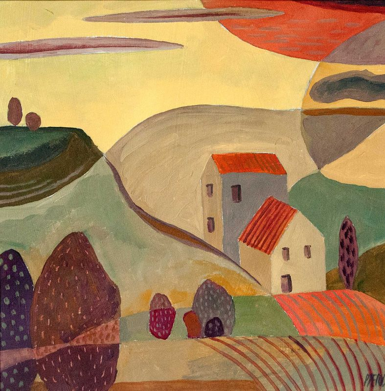 Acrylic painting Dwelling in Landscape 4 by Trevor Pye