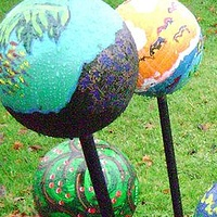 Painting Artful Bowling Balls for the Park by Yvonne Vander Kooi