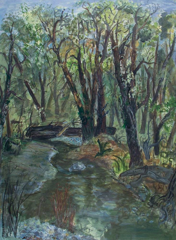 Acrylic painting Homestead Stream by Dennis Worrel