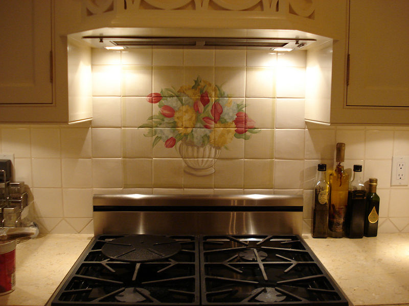 Acrylic painting Floral Motif - Kitchen Accent by Cindy Scaife