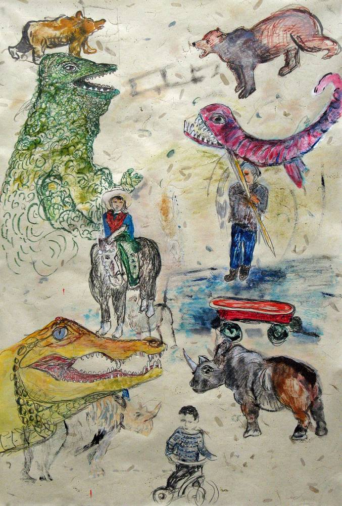 Mixed-media artwork Early Years by Dennis Worrel