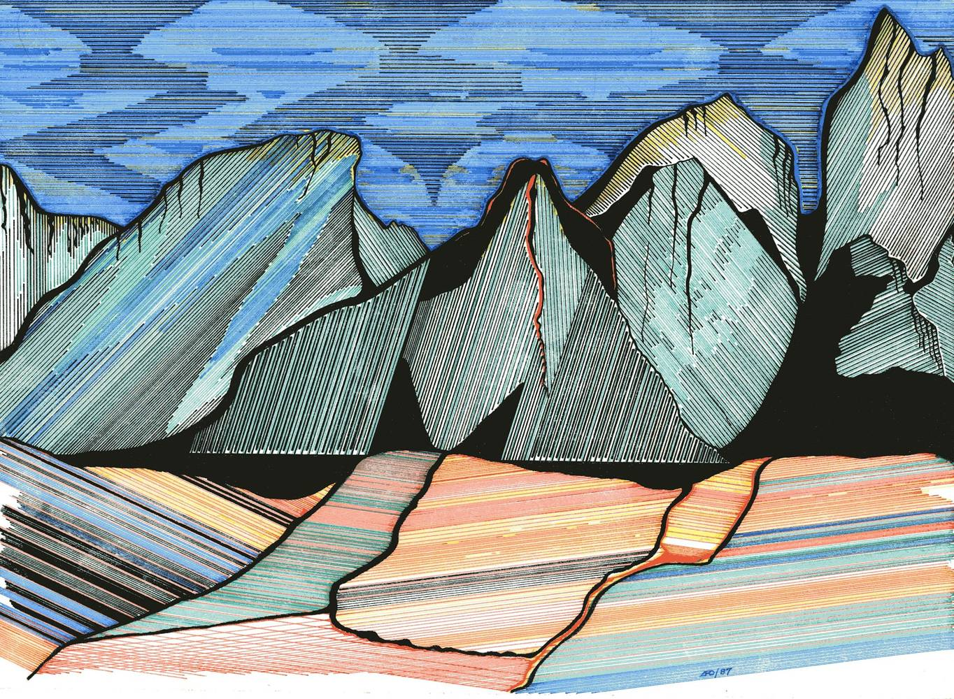 Drawing Rocky Mountains by Lawrie  Dignan