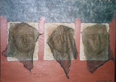 "Acrylic painting "" Faces cachées "" 1998 by Gaetane Cummings"