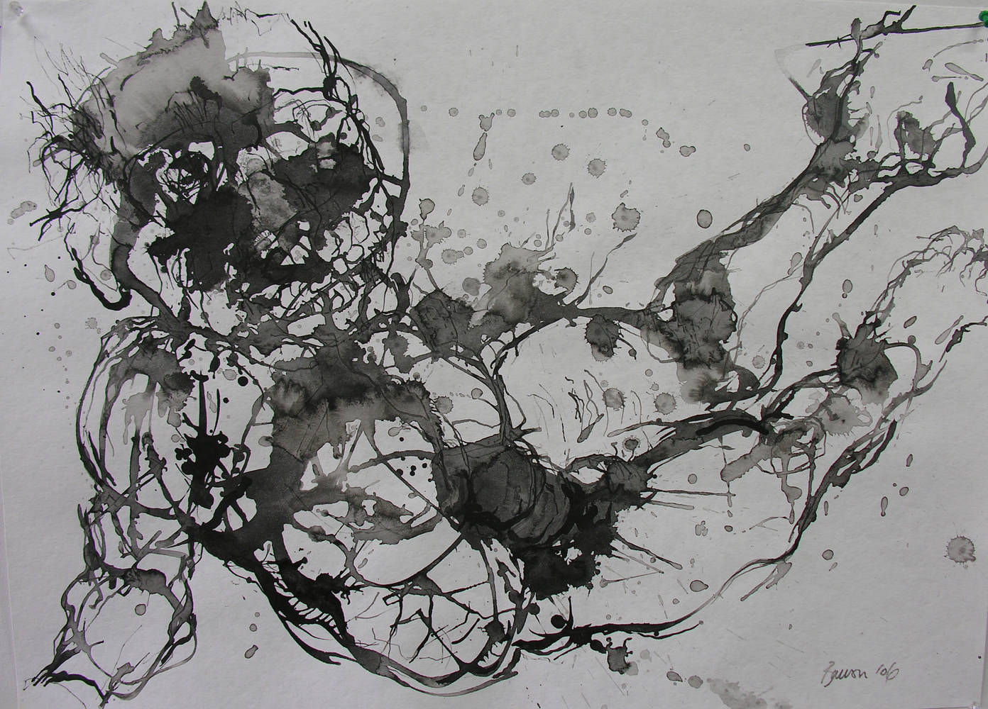 Falling figure-'06 ink and wash by Peter Barron