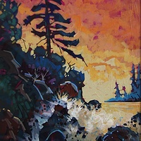 Tofino Beach Sunset Acrylic  18x24 2014 by Brian  Buckrell