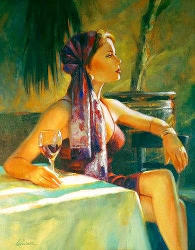 "Oil painting ""Afternoon Merlot"" by Kim Fujiwara"