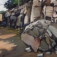 Oil painting Cliffs at Chamcook Harbour by Michael McEwing