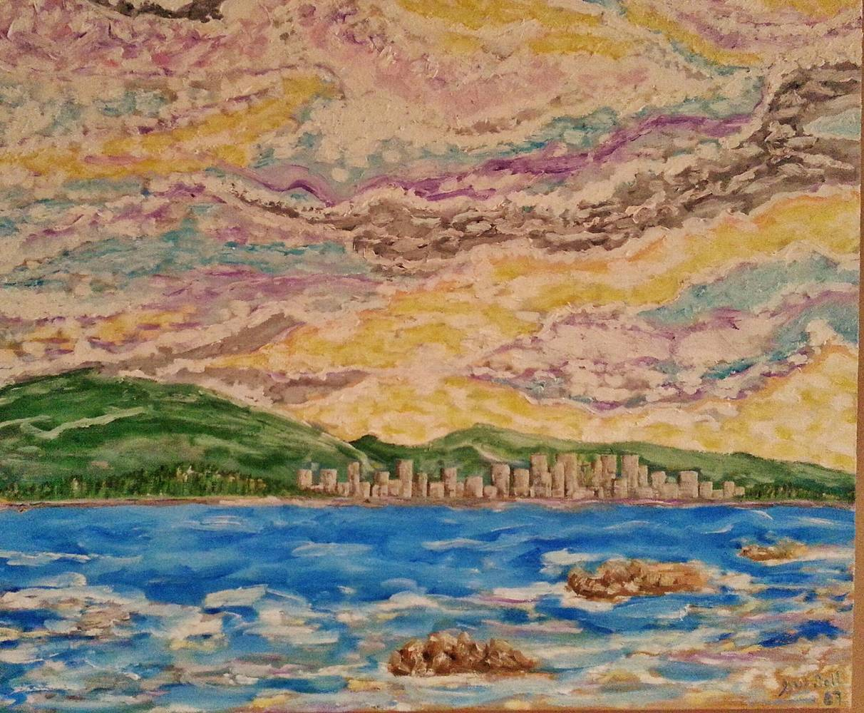 Oil painting Vancouver from Spanish Banks,B.C. by Gary Doll