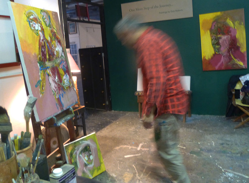 Sergej working in Dick's studio at Acme Art Studios by Dick Roberts