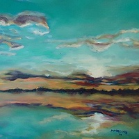 Oil painting October skyscape  by Michelle Marcotte