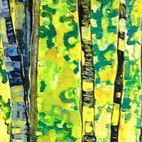 Painting Forest Birch by Yvonne Vander Kooi