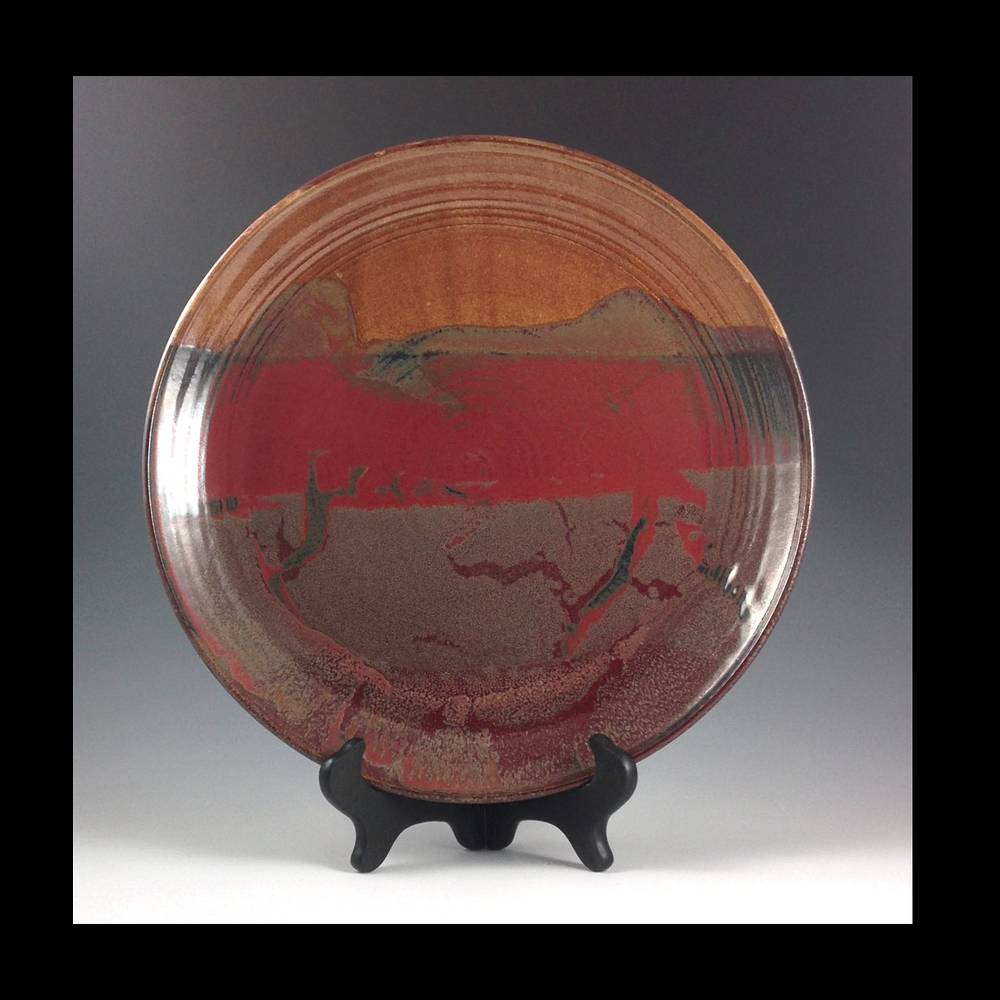 14 inch plate red series  2013-039 by Elaine Clapper