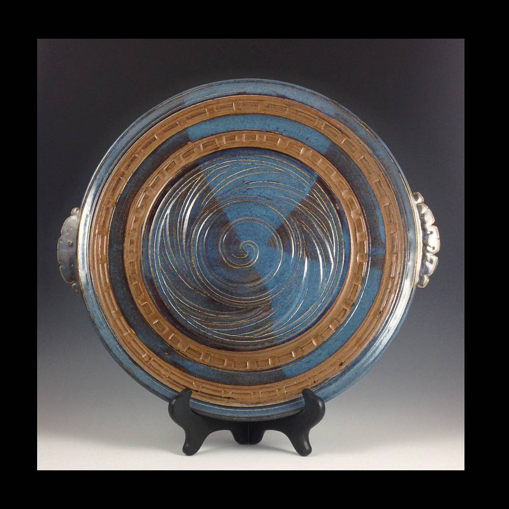 14 inch plate blue w handles series 2014 by Elaine Clapper