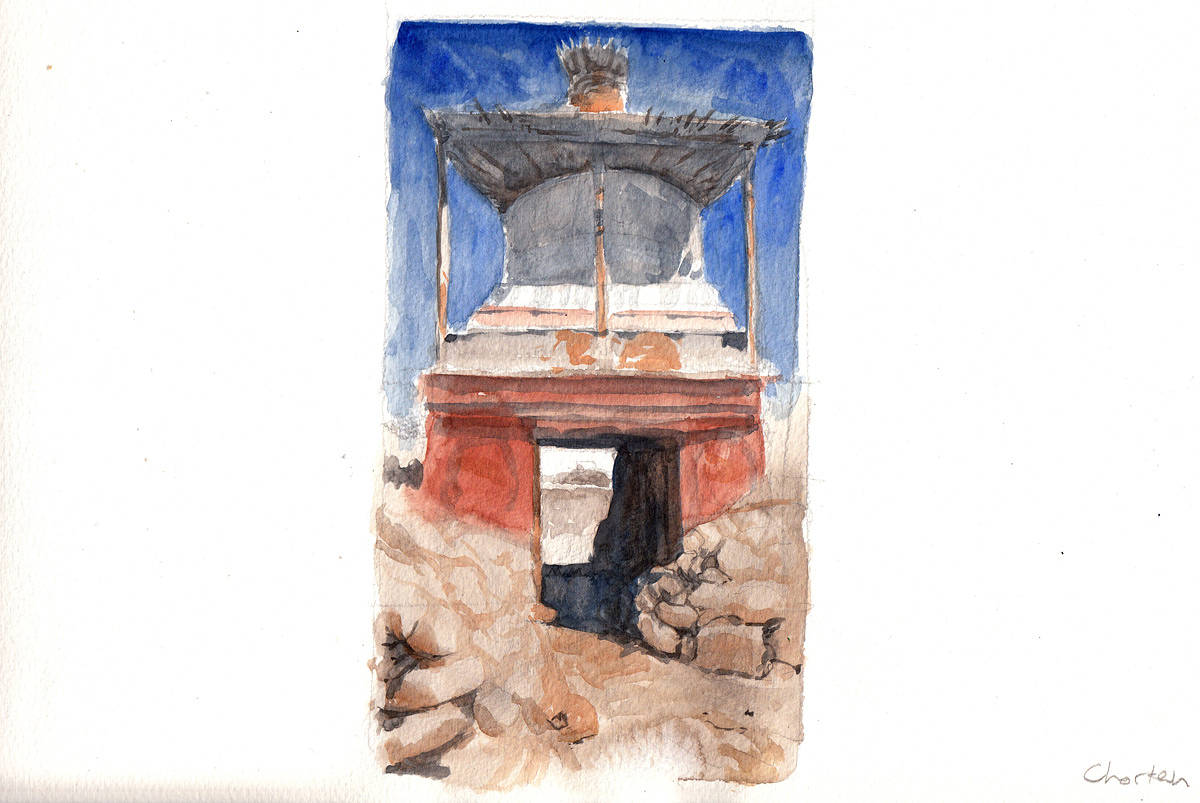Watercolor Chorten by Hendrik Gericke