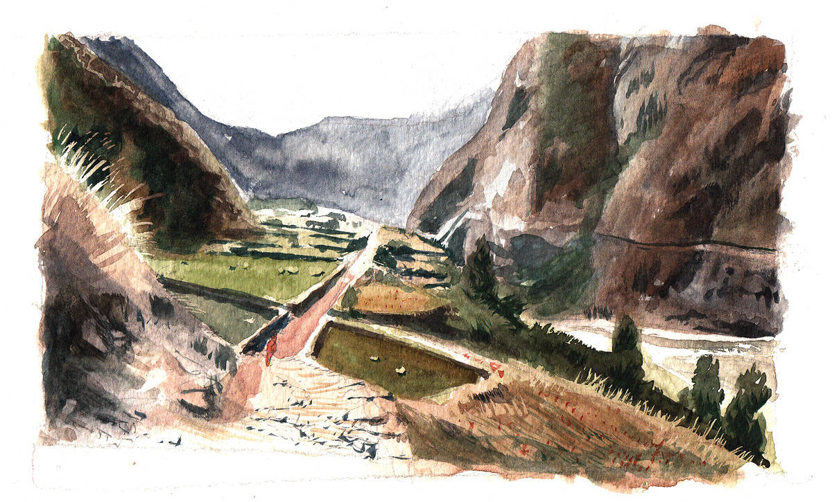 Watercolor Annapurna Track by Hendrik Gericke