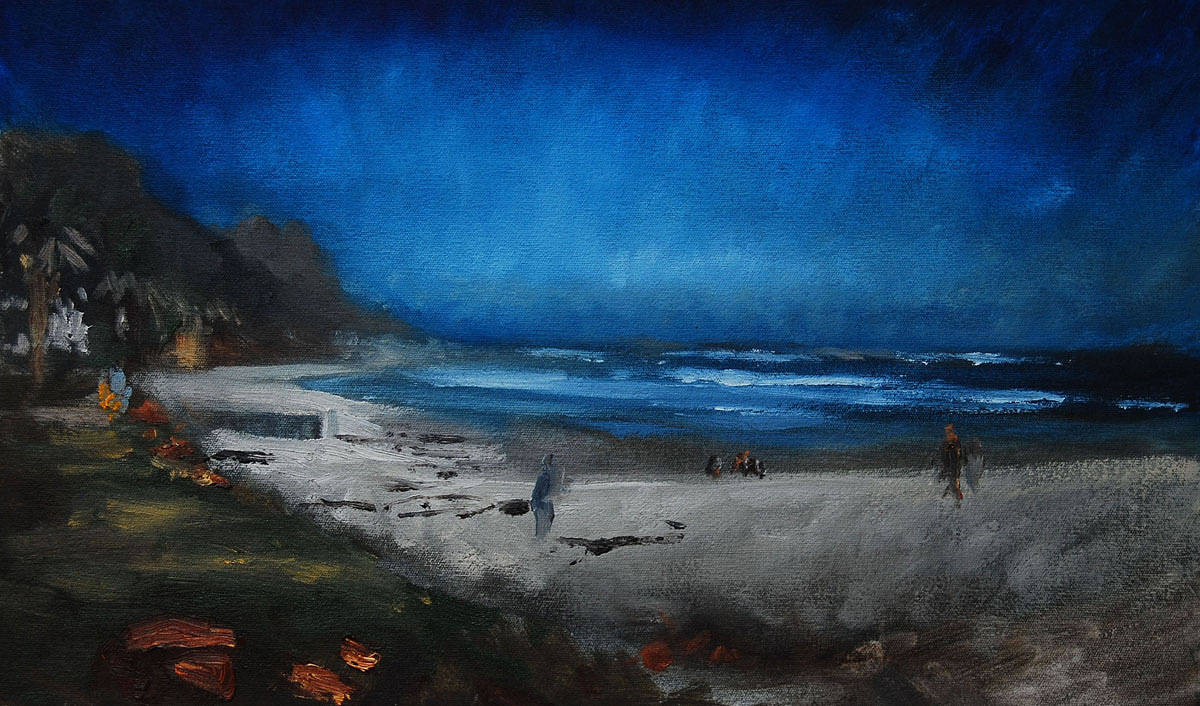 Oil painting Campsbay by Hendrik Gericke
