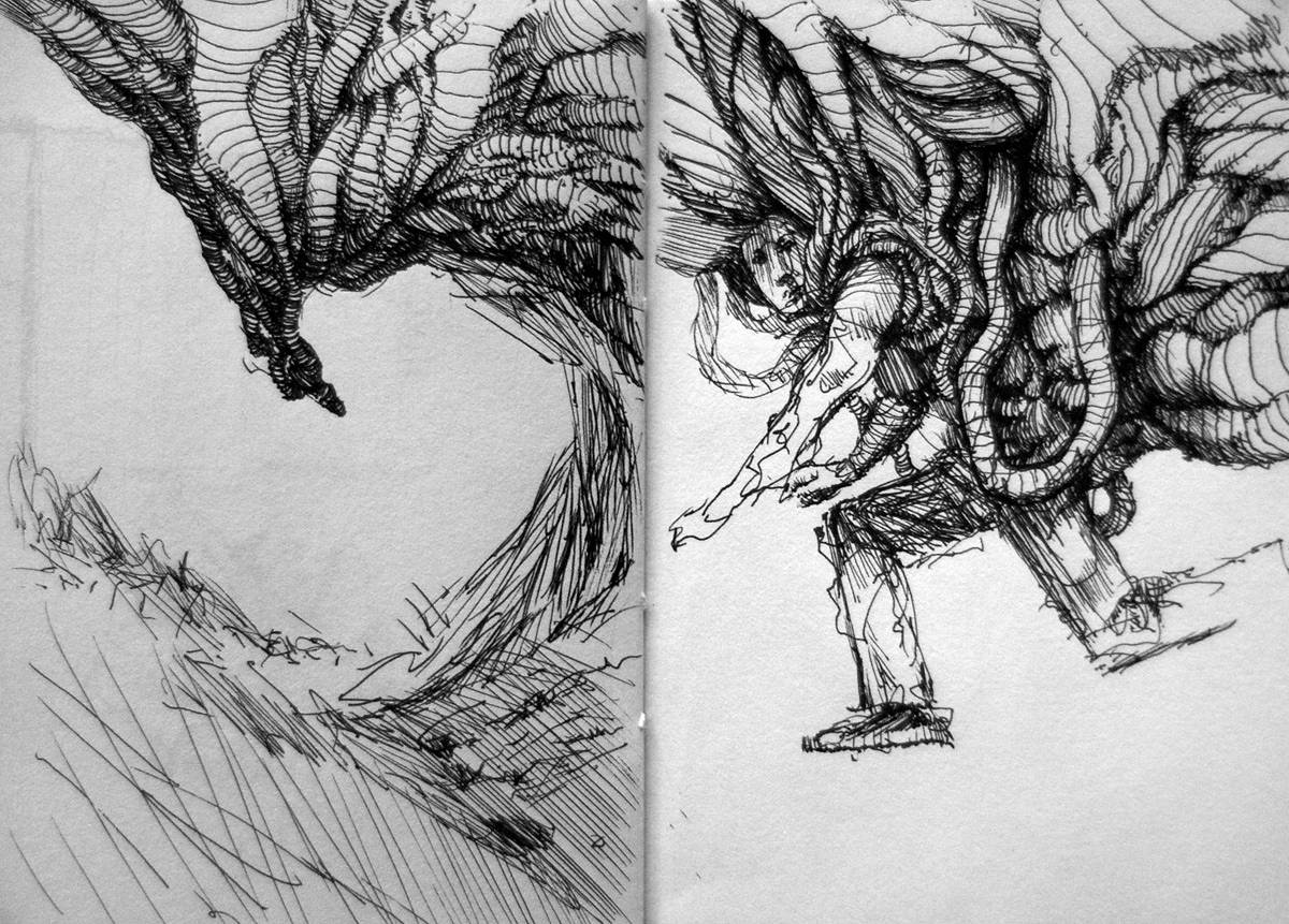 Drawing Entanglements, sketchbook pages by Hendrik Gericke