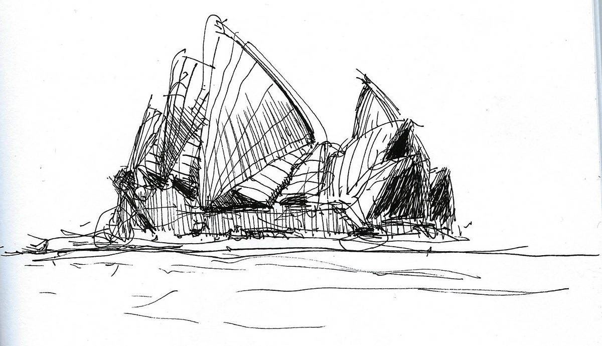 Drawing Opera House sketch by Hendrik Gericke