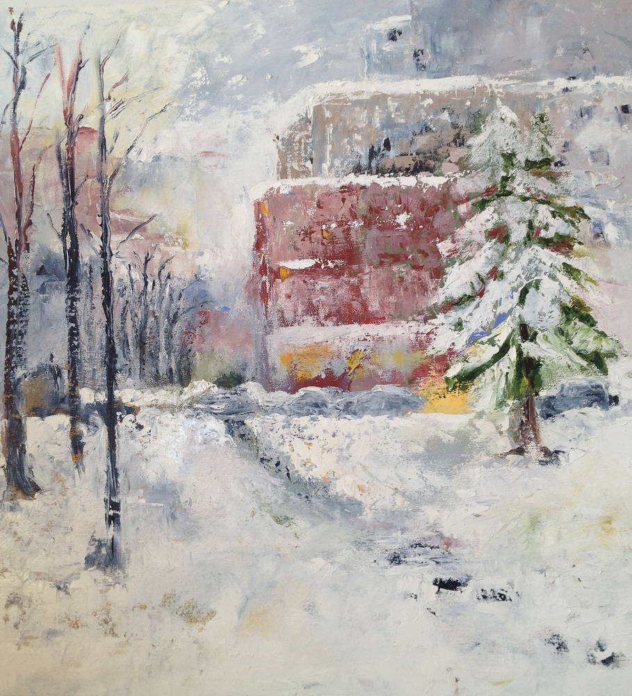 Oil painting Winter in Loring Park by Yvonne Foster