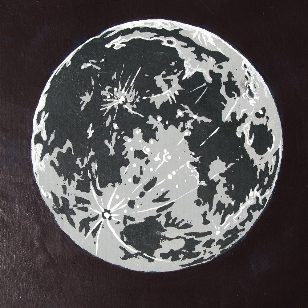 Acrylic painting Silkscreen Moon by Amber Macgregor