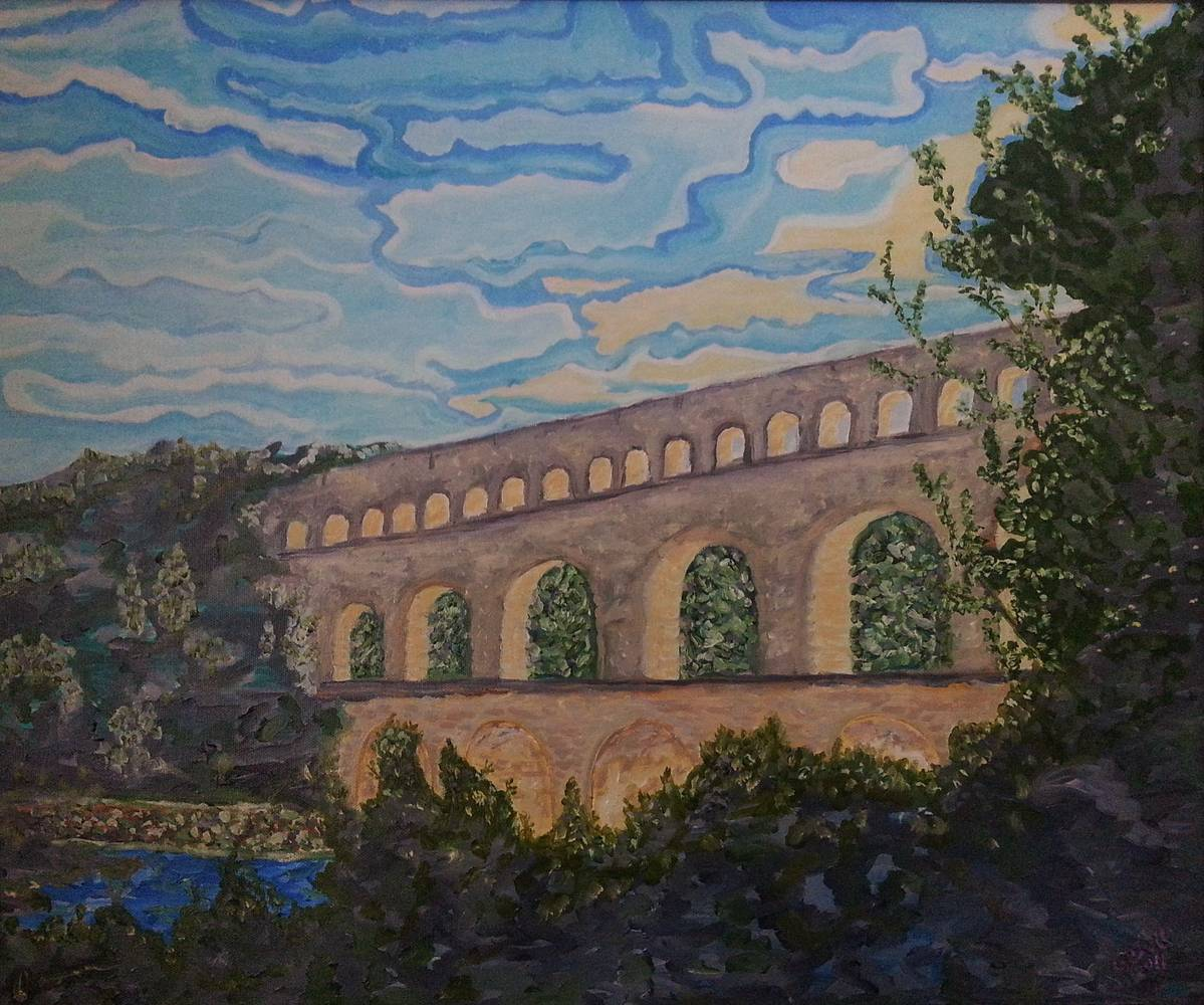 Oil painting Roman Aquaduct-Pont Du Gard,France by Gary Doll