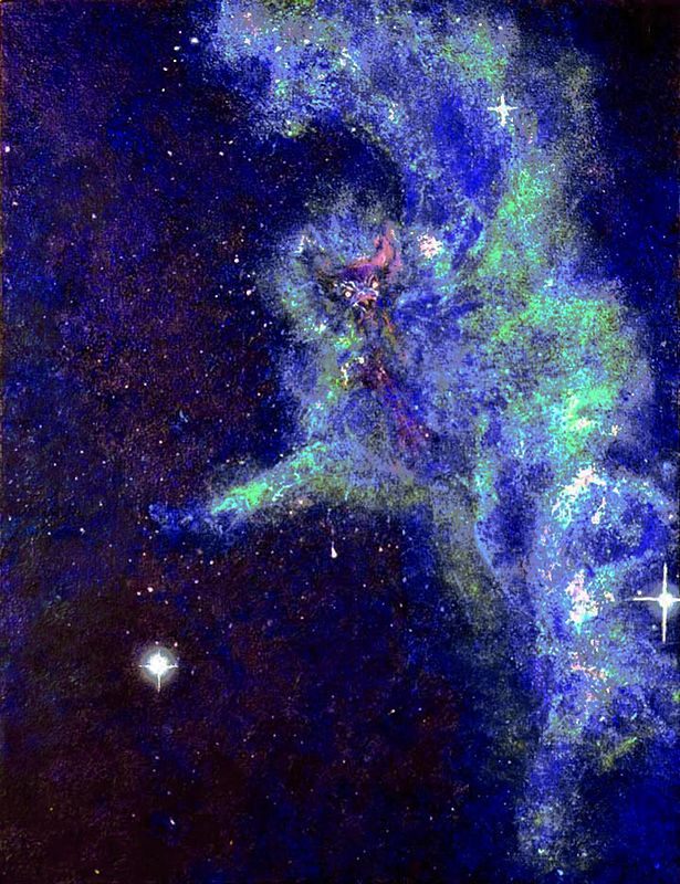 "Acrylic painting Griffin, from a different perspective the Witch*Head Nebula becomes  ""shinning eyes of the Guarding Griffin"" by Frederica  Hall"