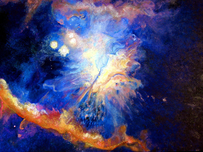 Oil painting Starmaker Surfing Orions Nebula I by Frederica  Hall