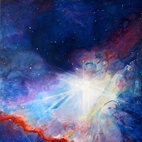 Acrylic painting Starmaker Surfing Orions Nebula, II.    What is in the Great Orion Nebula? or what is it? by Frederica  Hall
