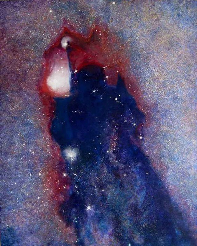 Acrylic painting 'Dark Tara', In the constalation of Scorpious toward the center of the Milkyway is an un-named dark cloud nebula. by Frederica  Hall