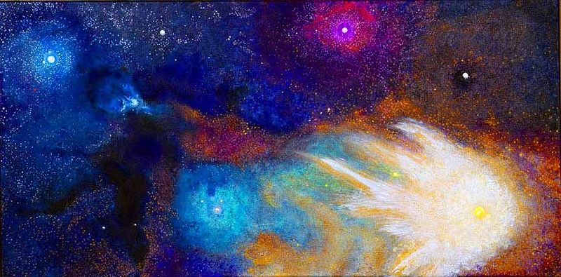 Acrylic painting Antares and Rho Ophiuchi, I'm going fishing some day. by Frederica  Hall