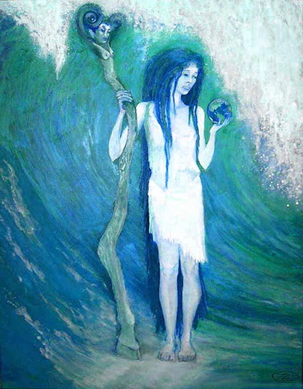 Oil painting Sea Witch, work in progress by Frederica  Hall