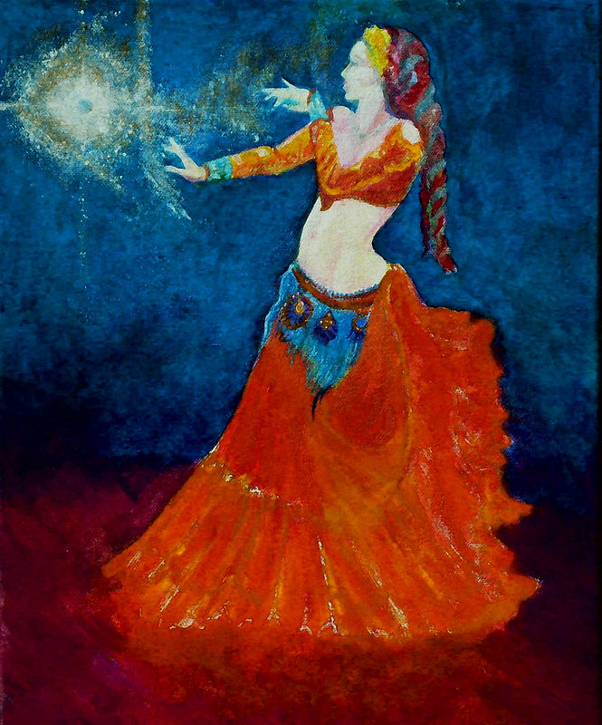 Acrylic painting Dancing to Antaries Song by Frederica  Hall