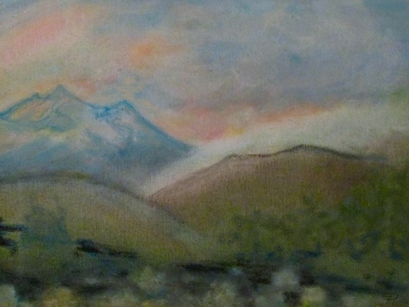 Oil painting Peak & Cloud by Frederica  Hall
