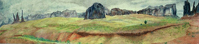 Watercolor Monument Valley by Frederica  Hall