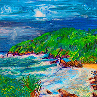 Oil painting King's Beach Oz by Frederica  Hall