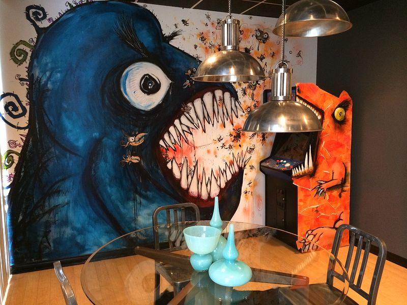 Acrylic painting Monster Turmoil at the Office by Joey Feldman