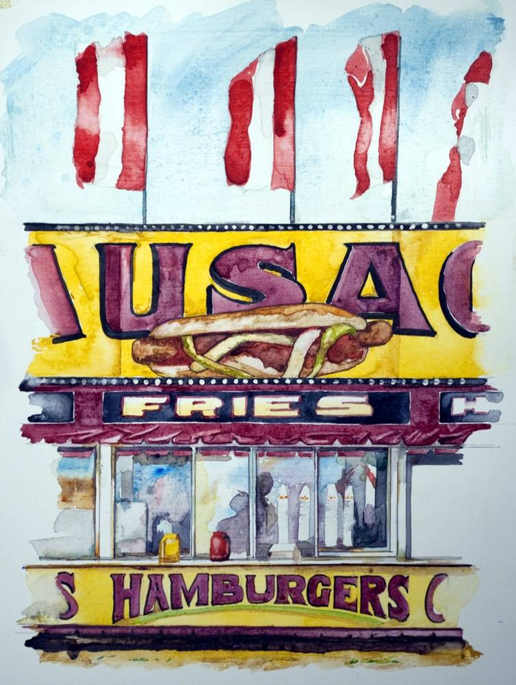 Watercolor Sausage Stand  (study) by Paul Sershon